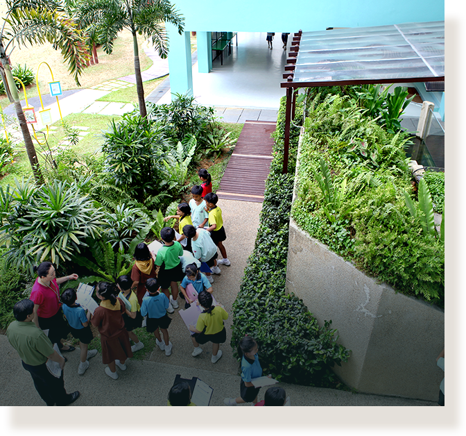 External areas, such as an outdoor learning trail, is converted into a learning space for students.