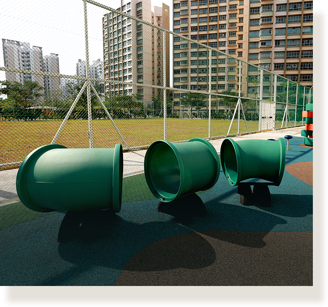 Specially designed outdoor spaces to engage and excite children.