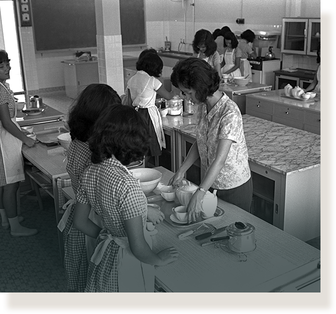 Home economics room of Serangoon Secondary Technical School and Thomson Primary Technical School (1964).