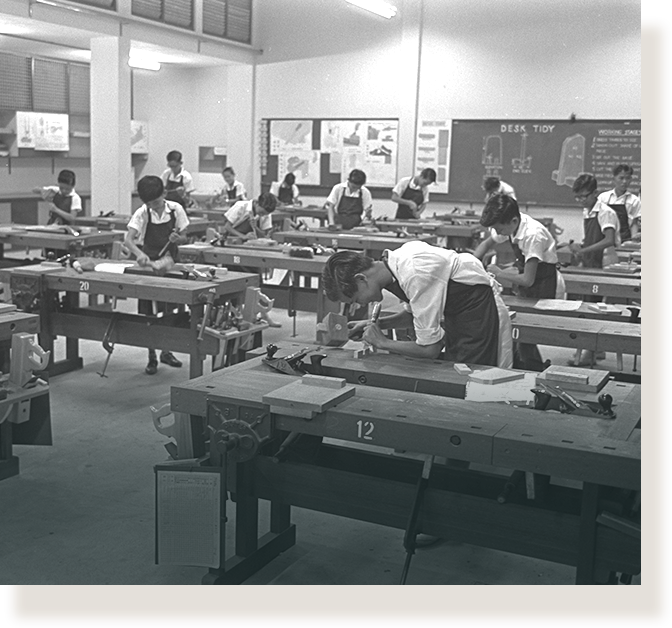 Technical workshop at Kim Seng Technical School (1966).
